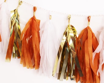 Burnt Orange and Gold Tassel Garland | Tassel Banner | Orange and White Party Decor | Graduation Party Decor | Texas Party Decor |