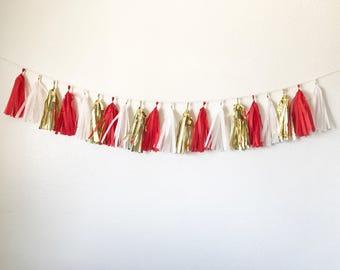 Tassel Garland | Tassel Banner | Red, white, and gold tassel garland | Birthday party decor | graduation party decor | bridal shower decor