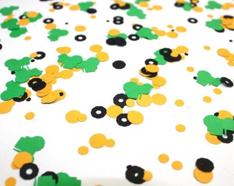 Green & Golden Yellow Tractor Confetti | Farm Theme Birthday Party | Green Tractor Confetti | Tractor Tires Confetti | Construction Birthday