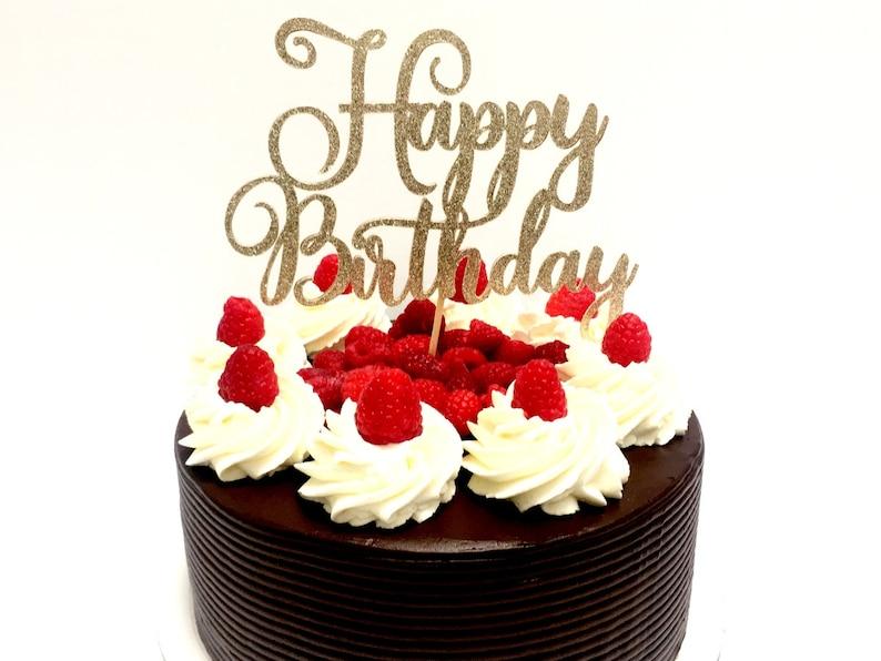 Champagne Glitter Script Happy Birthday Cake Topper Cursive | Etsy