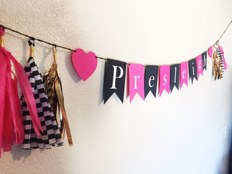 Name Banner Party Tassel Banner Home Decor Pink Birthday Banner Gold and Black Banner Tassel Garland Party Decor