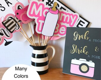Baby Shower Photo Booth Props | Baby Shower Props | Baby Shower Decorations | Gender Reveal Decorations | Gender Reveal Party | Shower Decor