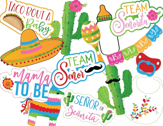 Fiesta Gender Reveal Photo Booth Props Instant Download Etsy