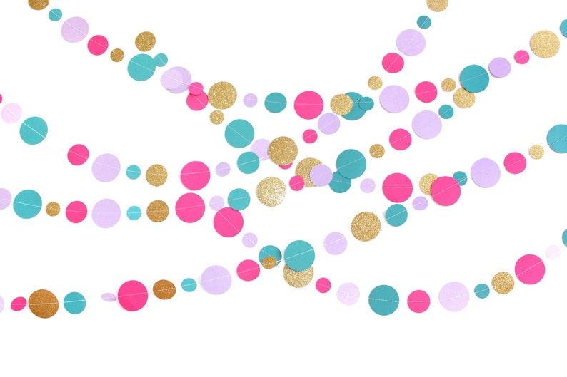 e84df389c379 Circle Garland Sewn Paper Round Garland Birthday Party
