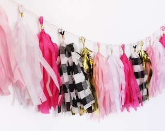 Pink, Gold, White, and Black and White Stripe Tassel Garland | Tassel Banner | Bridal Shower Decor | Party Supplies | Birthday Party Decor |