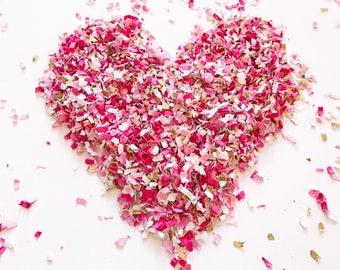 Valentine's Day Confetti | Pink Confetti | Paper Shred Confetti | Confetti | Table Scatter | Pink and Gold Confetti | Table Decorations |