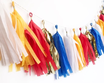 Tassel Garland | Red, White, Blue, Golden Yellow, and Gold Tassel Garland | Hedgehog Party Decor | Boy Birthday Party Decor | Red and Blue