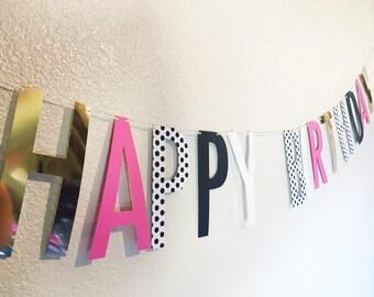 Birthday Banner   Happy Birthday Banner    Birthday Banner    Birthday    Party   polka dot, pink, white, gold, black
