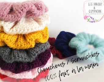 Chouchou knitting / 100% handmade / scrunchies / knit scrunchies / chouchous / wool / elastic / knitting / knitting
