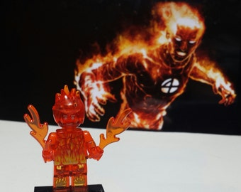 Human Torch Minifig Marvel Comics FF Fantastic Four Johnny Storm Building Block Toy