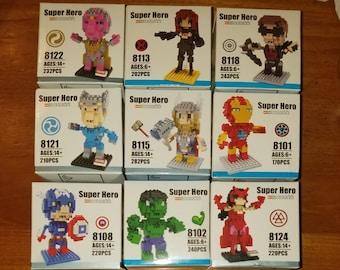 Avengers Nanoblocks Microblocks Construction Sets Captain America Ironman Thor Hawkeye Hulk Black Widow Quicksilver Vision Scarlet Witch