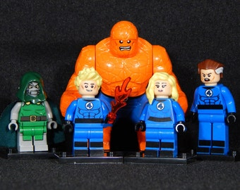 FF Fantastic Four Set Of 5 Custom Marvel Minifigs Thing Torch Dr. Doom Invisible Woman Mr. Fantastic Building Block Toy