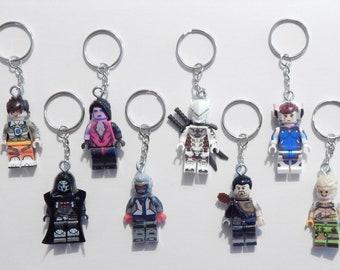 Custom Overwatch Minifig Keychains D.Va Soldier 76 Tracer Genji Hanzo Junkrat Widowmaker