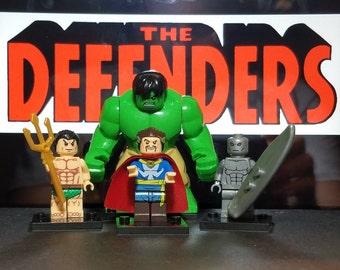 Defenders Set Of 4 Marvel Custom Minifigs Namor Sub-Mariner Hulk Doctor Strange Silver Surfer Building Block Toy