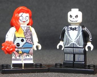 Nightmare Before Christmas Set Of 2 Custom Minifigs Jack Skellington Sally Building Block Toy