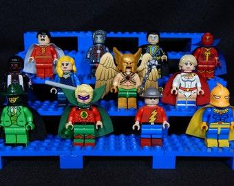 Justice Society DC Inspired Minifigs Alan Scott Jay Garrick Fate Terrific Sandman Powergirl Hawkman Shazam Steel JSA Building Block Toy