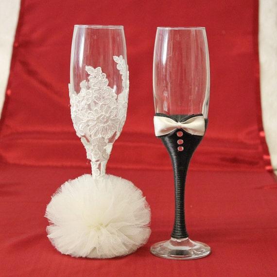 Braut und Bräutigam Hochzeit Gläser Spitze Toasten Gläser | Etsy