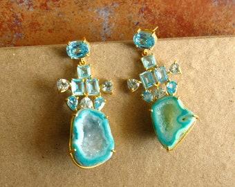 Green Druzy Earrings, Geode Earrings, Statement Earrings, Cluster Earrings, Blue Crystal Earrings, Dangle Earrings, Gemstone Earrings