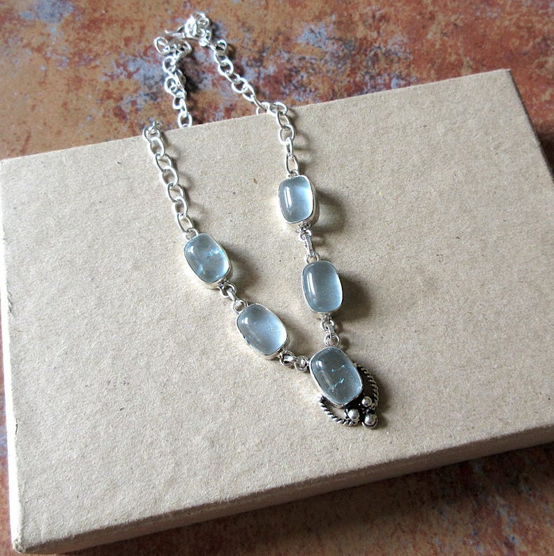 Blue Stone Delicate NecklaceGemstone Necklace Silver Necklace Everyday Wear Minimalistic Jewelry GN208