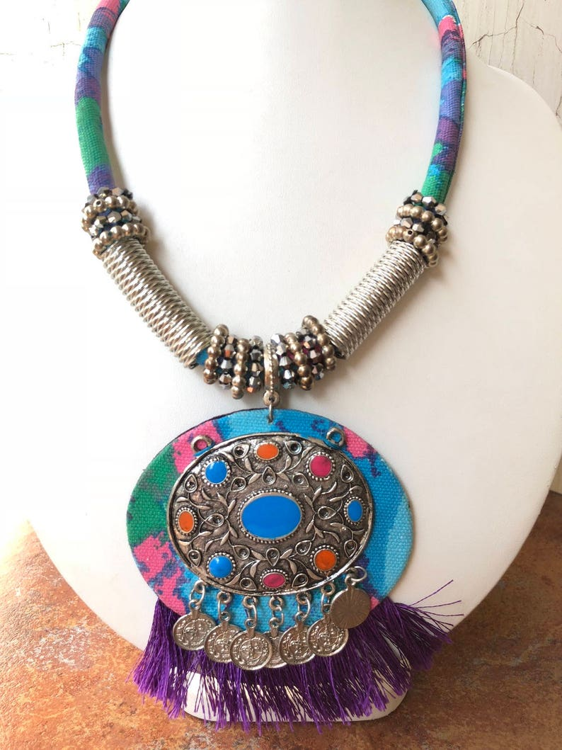Blue and Purple Oxidized Silver Statement NecklaceFringe NecklaceGeometric NecklaceBoho NecklaceBib Necklace