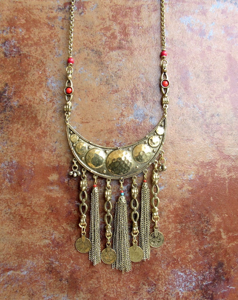 Oxidized Gold Statement NecklaceBoho NecklaceBib NecklaceChains Tassel Necklace with Gypsy CoinsCoral Beaded Necklace