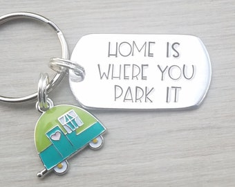 Custom Hand Stamped Aluminum RV Key Chain. Happy Camper With Palm Trees