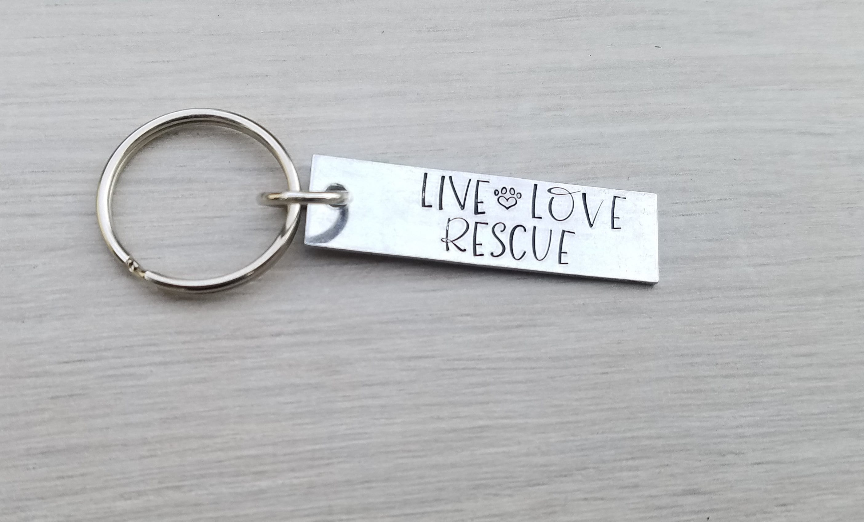 Key chain for her Keyring Hand made gift Live love rescue hand stamped key chain Birthday gift for her Dog rescue Animal rescue