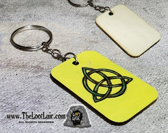 Triquetra wooden disc hand burned painted Keyring