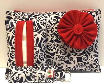 Navy & White Cosmetic Bag Gift Set, Make-Up Bag, Make-Up Gift Set, Tissue Holder, Chapstick Keychain