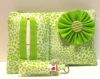 Lime Leopard Cosmetic Bag Gift Set, Make-Up Bag, Make-Up Gift Set, Tissue Hokder, Chapstick Keychain, Gift Set, Leopard Gifts, Leopard Print