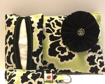 Green & Black Floral Cosmetic Bag Gift Set, Make-Up Bag, Make-Up Gift Set, Tissue Holder, Chapstick Keychain