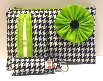 Navy Houndstooth Cosmetic Bag Gift Set, Make-Up Bag, Make-Up Gift Set, Tissue Holder, Chapstick Keychain, Houndstooth Gifts