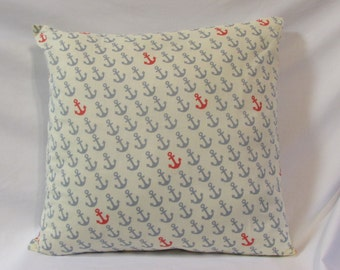 Gray & Coral Anchor Pillow, Anchor Pillow, Decorative Pillow, Home Decor, Pillow, Throw Pillow, Anchor Decor