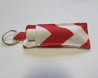 Red Chevron Chapstick Holder Keychain