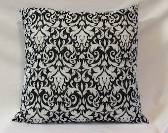 Black and White Damask Print Pillow, Decorative Pillow, Throw Pillow, Home Decor, Black and White Decor, Pillow