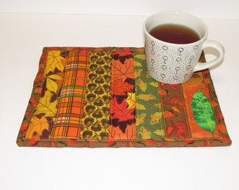 Striped Fall Mug Rug, Mug Rug, Autumn Mug Rug, Placemat, Coasters