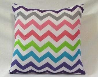 Rainbow Chevron Pillow, Throw Pillow, Decorative Pillow, Rainbow Pillow, Chevron Pillow, Pillow