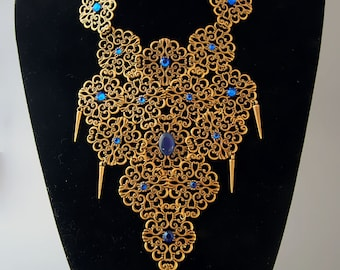 "Breastplate necklace ""Nefertiti"" / Ancient Medieval Fantasy / Egypt Cleopatra / Cabochon Rhinestone / Rivet  / Color Blue"