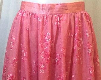 Dark pink floral chiffon and taffeta  full skirt 1950's