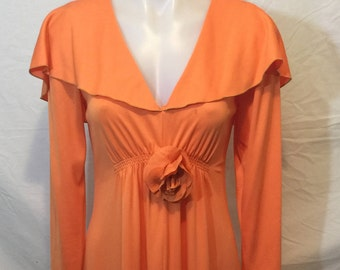 Orange Vintage full length dress 60's or 70's