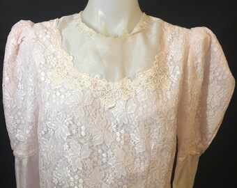 Pink silky lace top size SL victorian style