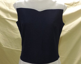 Fortel blue and white 1970's dress size