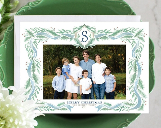 PRINTABLE Holiday Cards   Pine Blue Ribbon   Family Initial   Christmas Spruce