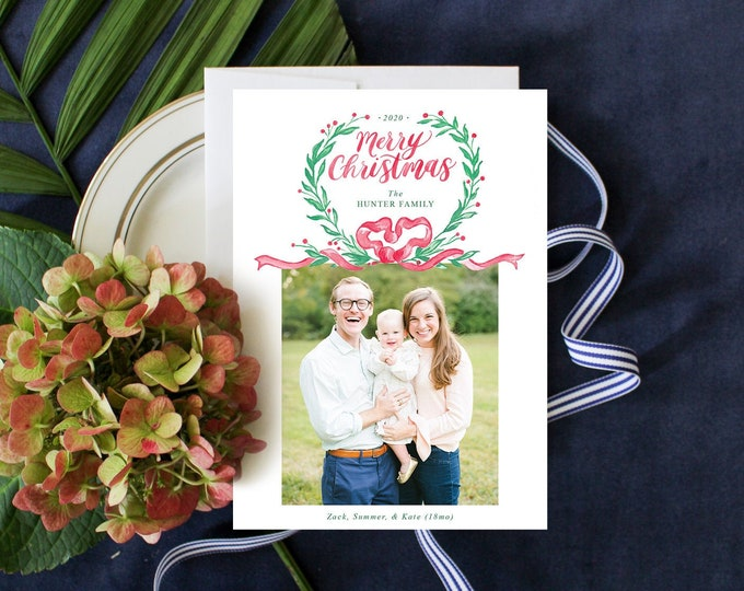 PRINTABLE Holiday Cards | Merry Christmas | Photo Cards | Red Ribbon | Green Garland | Grandmillennial Bow