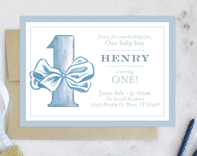 PRINTABLE Birthday Party Invitation | First Birthday | ONE | Blue Bow Tie | Boy