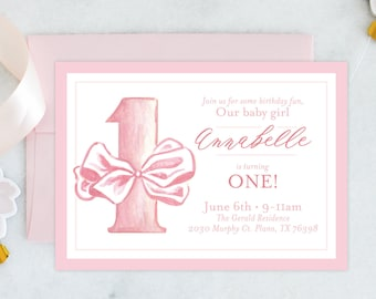 PRINTABLE Birthday Party Invitation | First Birthday | ONE | Pink Bow | Girl