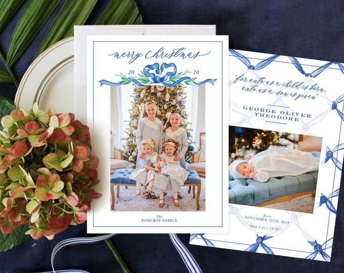 PRINTABLE Holiday Cards | Blue Bow | Woven Ribbon | Birth Announcement | Merry Christmas