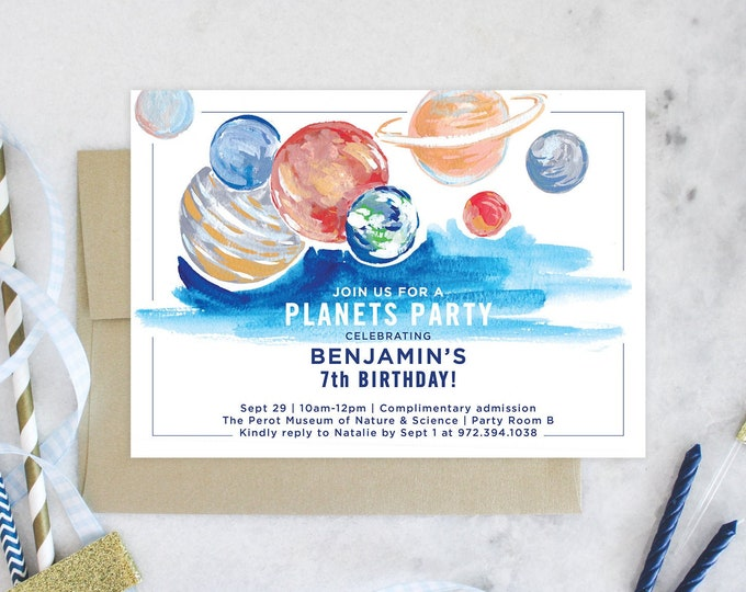 PRINTABLE Birthday Party Invitation | Planets Party | Science Birthday