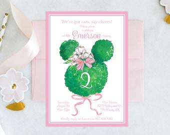 PRINTABLE Birthday Party Invitation | Minnie Mouse | Bowtique Birthday | Garden Party | Topiary