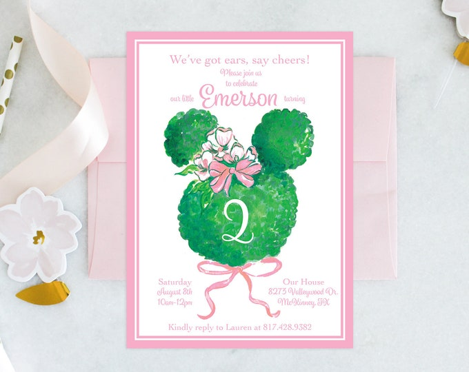 PRINTABLE Birthday Party Invitation | Minnie Mouse | Bowtique Birthday | Garden Party | Topiary